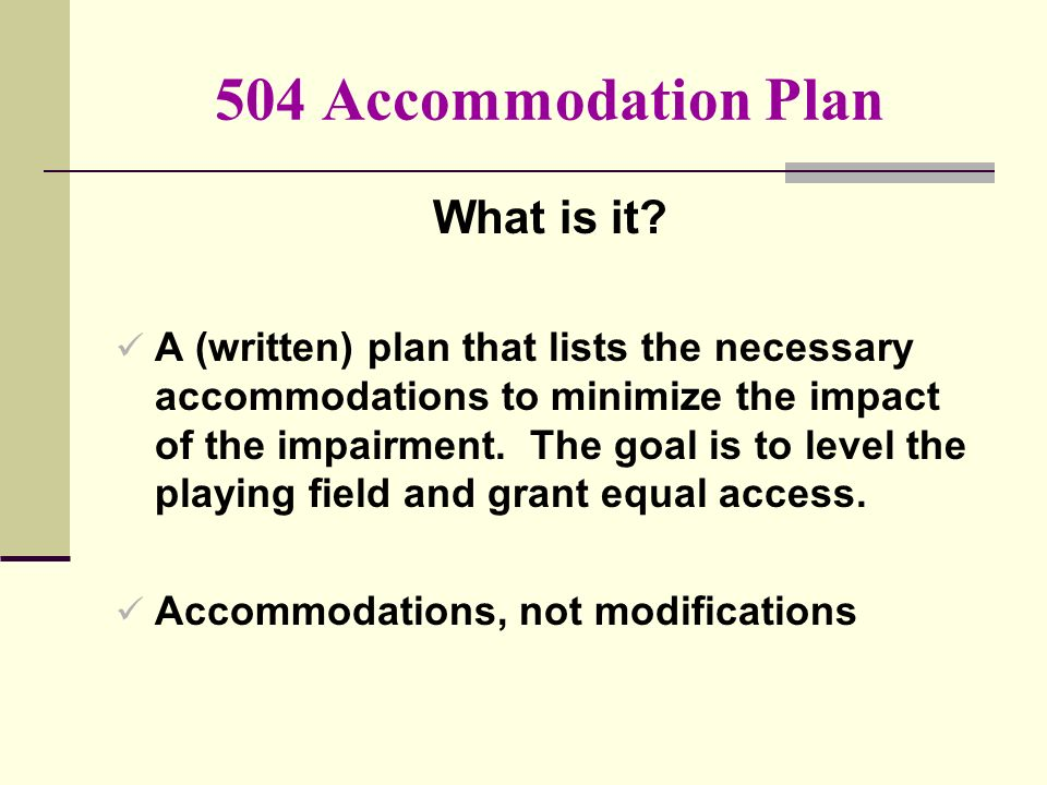 504 Accommodation Plan What is it.