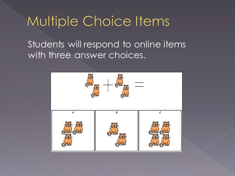 Students will respond to online items with three answer choices.