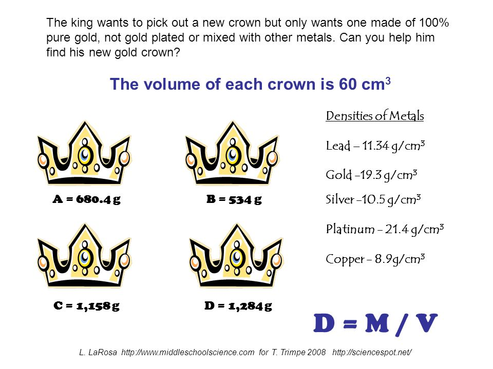 The king wants to pick out a new crown but only wants one made of 100% pure gold, not gold plated or mixed with other metals.