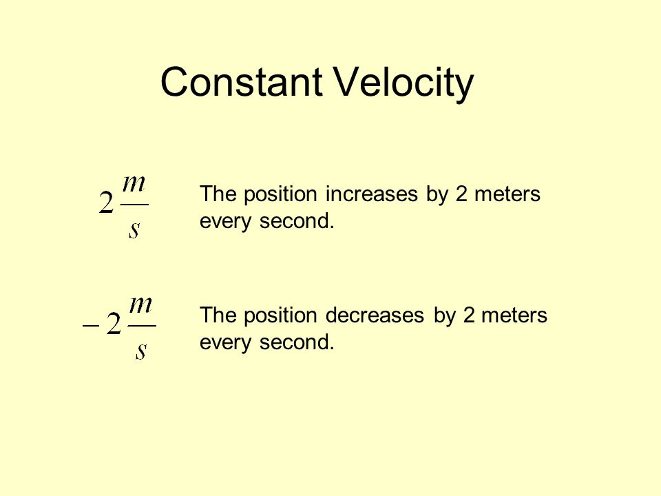 Constant Velocity The position increases by 2 meters every second.
