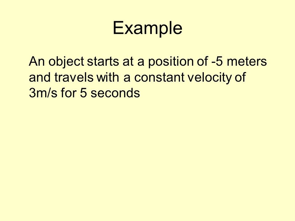 Example An object starts at a position of -5 meters and travels with a constant velocity of 3m/s for 5 seconds