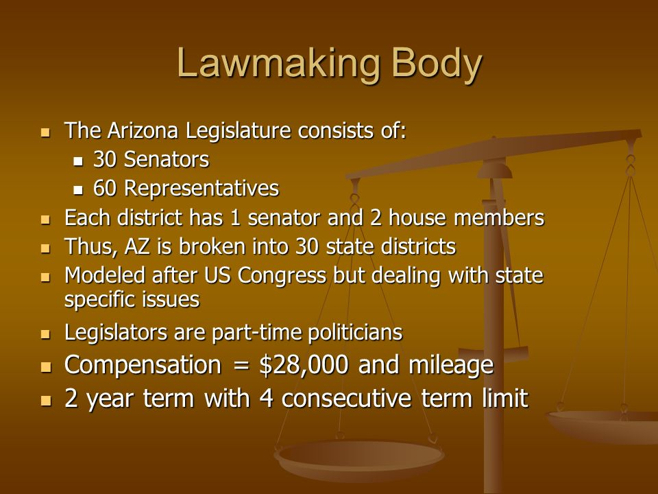 Lawmaking Body The Arizona Legislature consists of: The Arizona Legislature consists of: 30 Senators 30 Senators 60 Representatives 60 Representatives Each district has 1 senator and 2 house members Each district has 1 senator and 2 house members Thus, AZ is broken into 30 state districts Thus, AZ is broken into 30 state districts Modeled after US Congress but dealing with state specific issues Modeled after US Congress but dealing with state specific issues Legislators are part-time politicians Legislators are part-time politicians Compensation = $28,000 and mileage Compensation = $28,000 and mileage 2 year term with 4 consecutive term limit 2 year term with 4 consecutive term limit