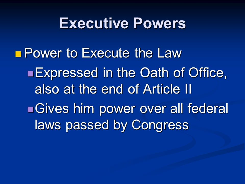 Types of Powers Implied Powers – not written in the Constitution, but reasonably derived from expressed powers Implied Powers – not written in the Constitution, but reasonably derived from expressed powers Ex.