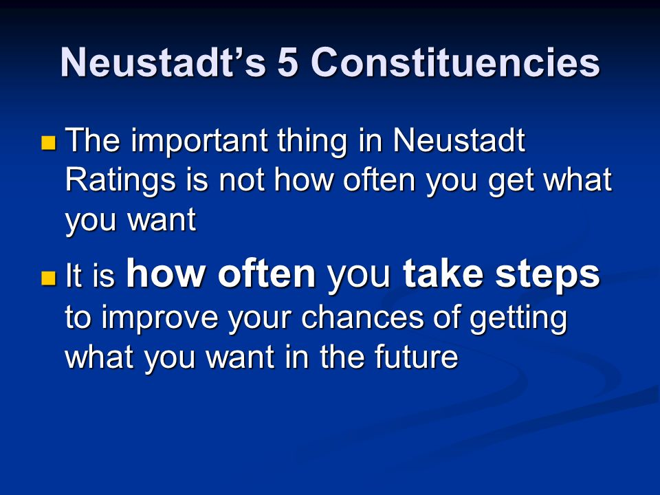 Neustadts 5 Constituencies The Public The Public His Party His Party The Bureaucracy (Agencies) The Bureaucracy (Agencies) Congress Congress Foreign Nations Foreign Nations Neustadt rates presidents based on how they do with each of these groups Neustadt rates presidents based on how they do with each of these groups