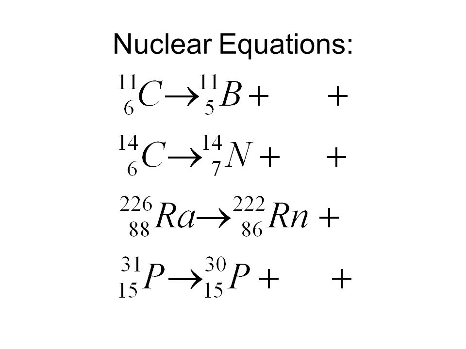 Nuclear Equations:
