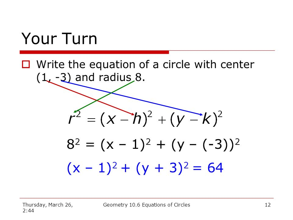 Thursday, March 26, 2:44 Geometry 10.6 Equations of Circles11 Example Write the equation of a circle with center (5, 6) and radius 4.