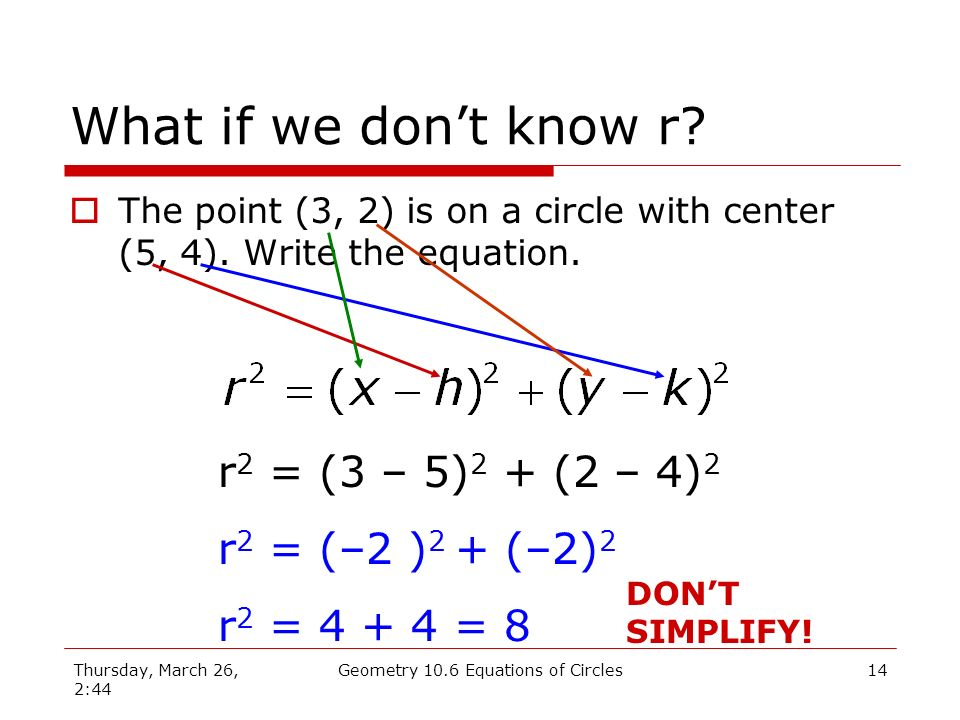Thursday, March 26, 2:44 Geometry 10.6 Equations of Circles13 What if we dont know r.