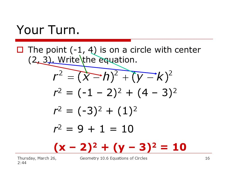 Thursday, March 26, 2:44 Geometry 10.6 Equations of Circles15 Write the equation.