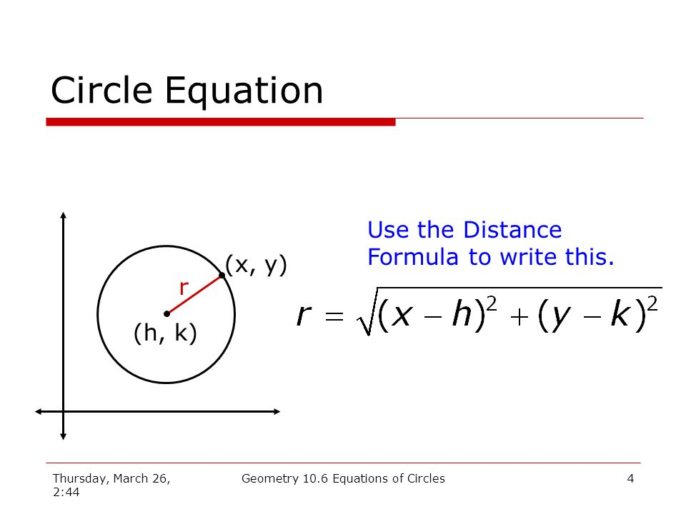 Thursday, March 26, 2:44 Geometry 10.6 Equations of Circles3 Circle Definition A circle is the set of points on a plane that are equidistant from the center.