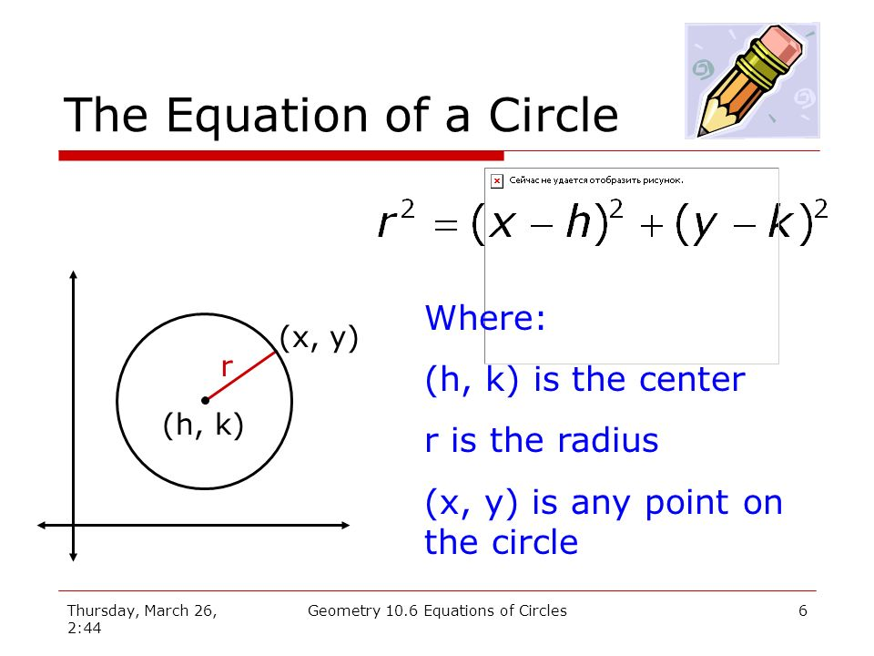 Thursday, March 26, 2:44 Geometry 10.6 Equations of Circles5 Circle Equation r (x, y) (h, k) Square both sides: