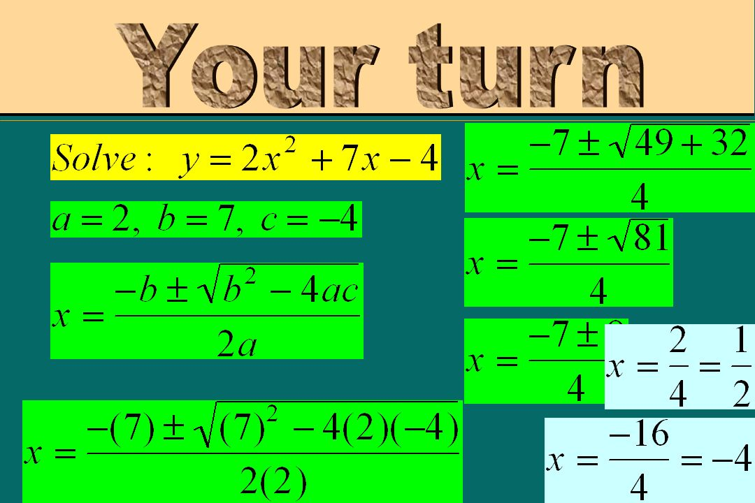 Plug in your answers for x. If youre right, youll get y = 0.