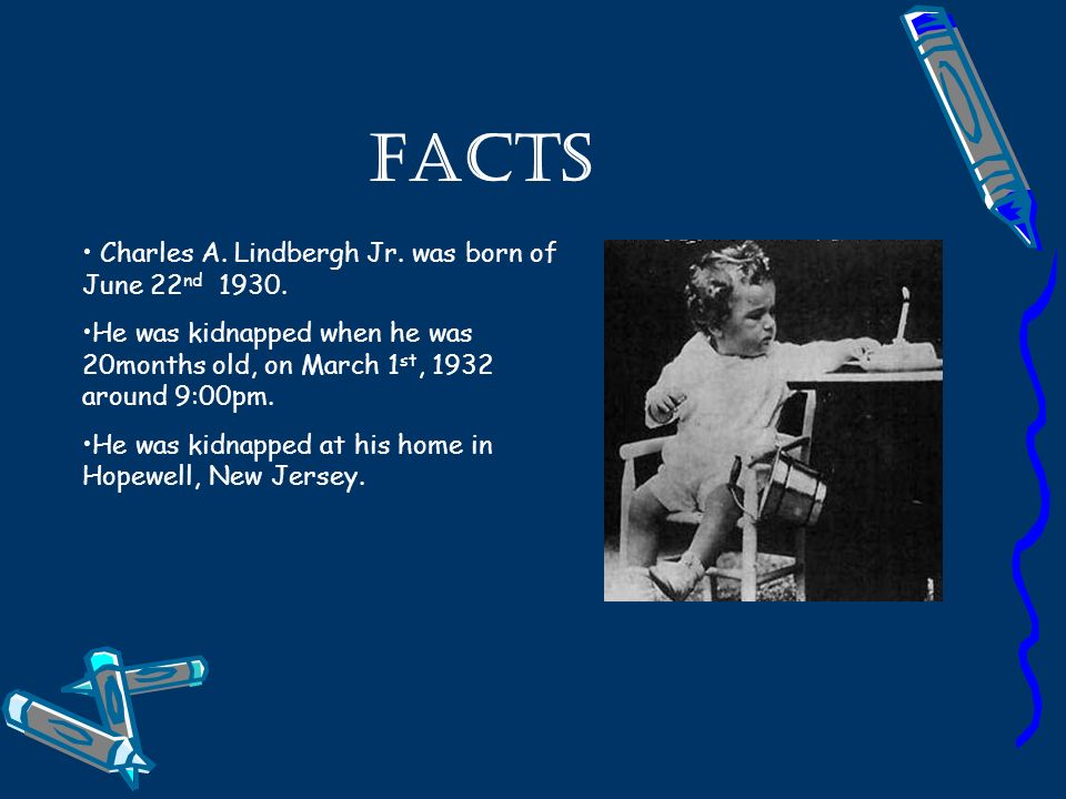 Facts Charles A. Lindbergh Jr. was born of June 22 nd 1930.
