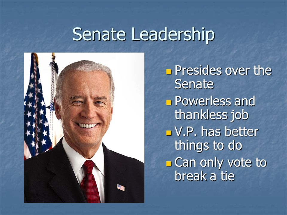 Senate Leadership President of the Senate President of the Senate = Vice President of the U.S.