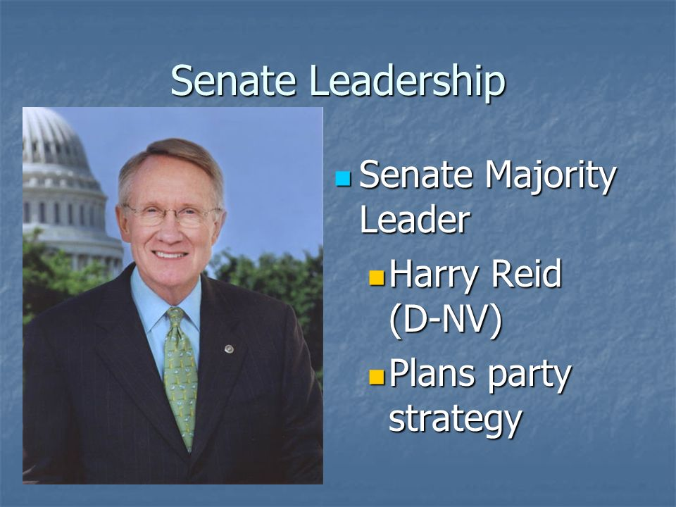Senate Leadership President Pro- Tempore of the Senate President Pro- Tempore of the Senate Longest serving member of the majority party Longest serving member of the majority party Also doesnt want to do it, passes the job off on junior members Also doesnt want to do it, passes the job off on junior members