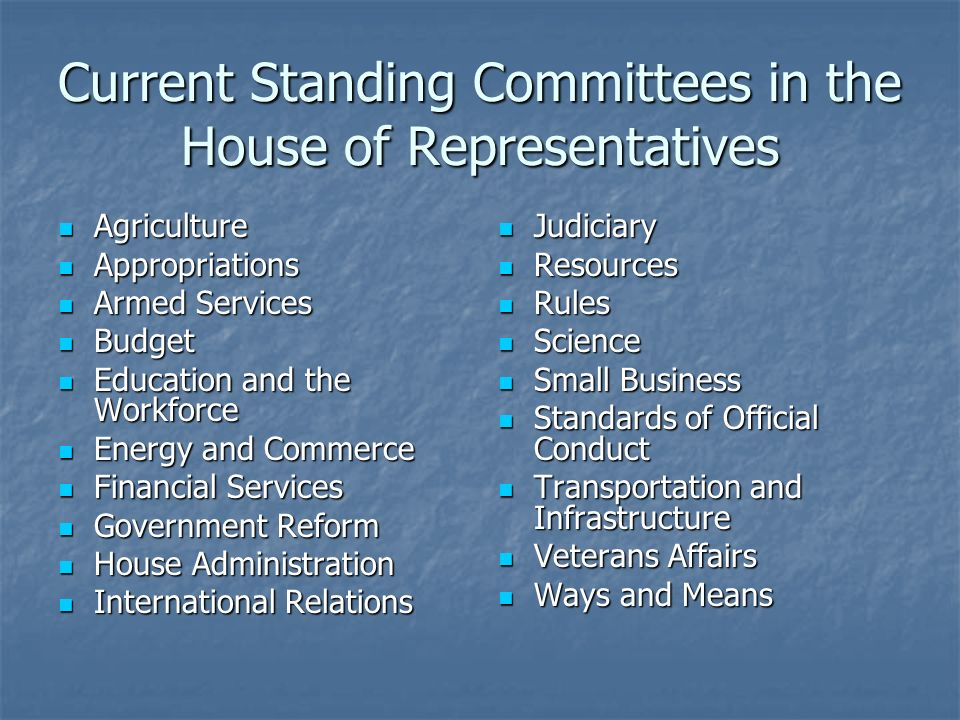 Types of Committees Standing Committee – permanent committees that remain from session to session Standing Committee – permanent committees that remain from session to session