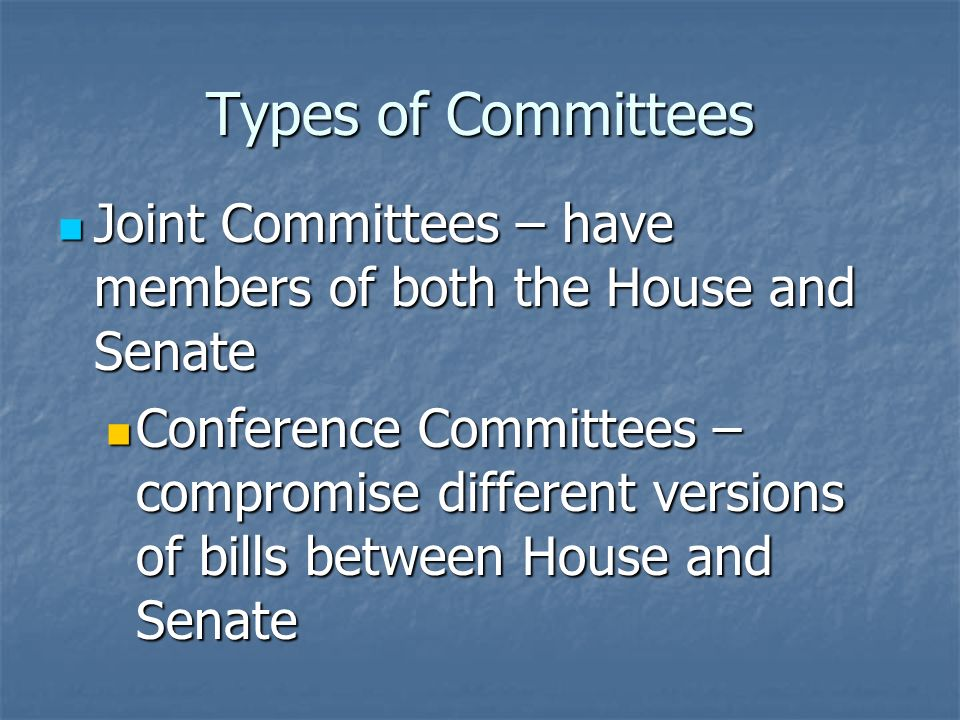 Types of Committees Select or Special Committees – Temporary committee to investigate wrongdoing or research a special matter Select or Special Committees – Temporary committee to investigate wrongdoing or research a special matter Examples: Senate Watergate Committee, Select Committee on Aging Examples: Senate Watergate Committee, Select Committee on Aging