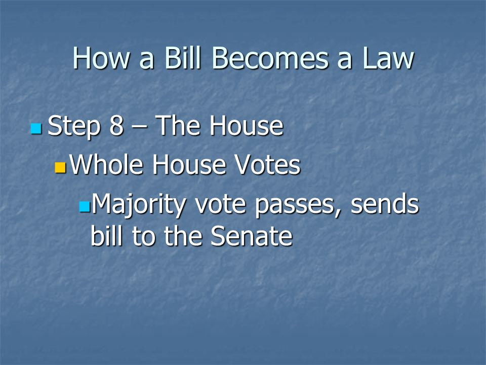 How a Bill Becomes a Law Step 7 – The House Step 7 – The House Whole House Debates Whole House Debates During debate, members can propose amendments to add onto the bill During debate, members can propose amendments to add onto the bill In the House, amendments must be relevant to the subject of the bill In the House, amendments must be relevant to the subject of the bill