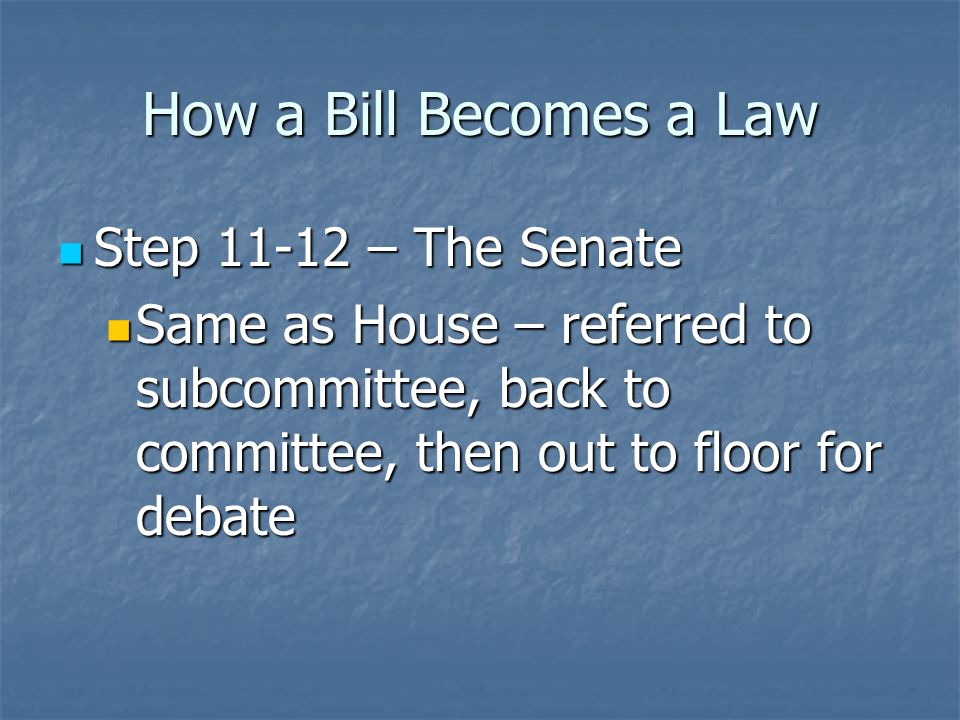 How a Bill Becomes a Law Step 9 – The Senate Step 9 – The Senate Introduced in the Senate Introduced in the Senate Step 10 – The Senate Step 10 – The Senate Referred to a standing committee Referred to a standing committee Senate Majority Leader chooses which committee Senate Majority Leader chooses which committee