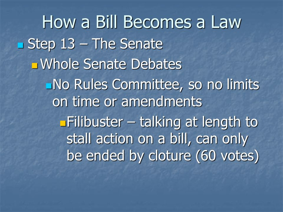 How a Bill Becomes a Law Step 11-12 – The Senate Step 11-12 – The Senate Same as House – referred to subcommittee, back to committee, then out to floor for debate Same as House – referred to subcommittee, back to committee, then out to floor for debate