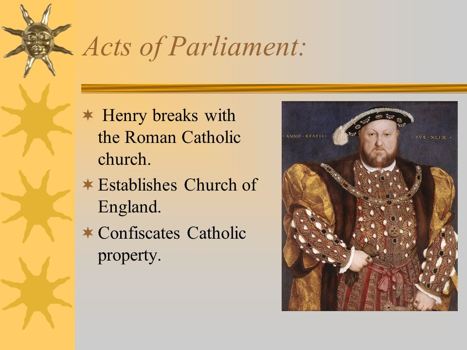 Acts of Parliament: Henry breaks with the Roman Catholic church.