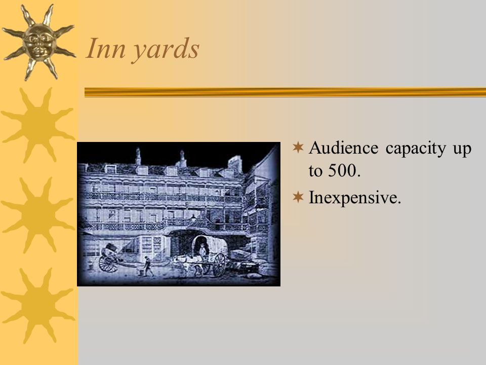 Inn yards Audience capacity up to 500. Inexpensive.