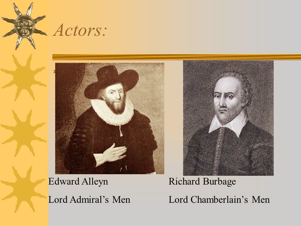 Actors: Edward AlleynRichard Burbage Lord Admirals MenLord Chamberlains Men