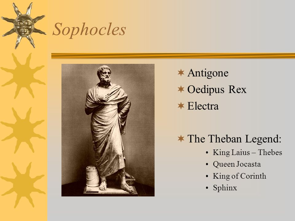 Sophocles Antigone Oedipus Rex Electra The Theban Legend: King Laius – Thebes Queen Jocasta King of Corinth Sphinx