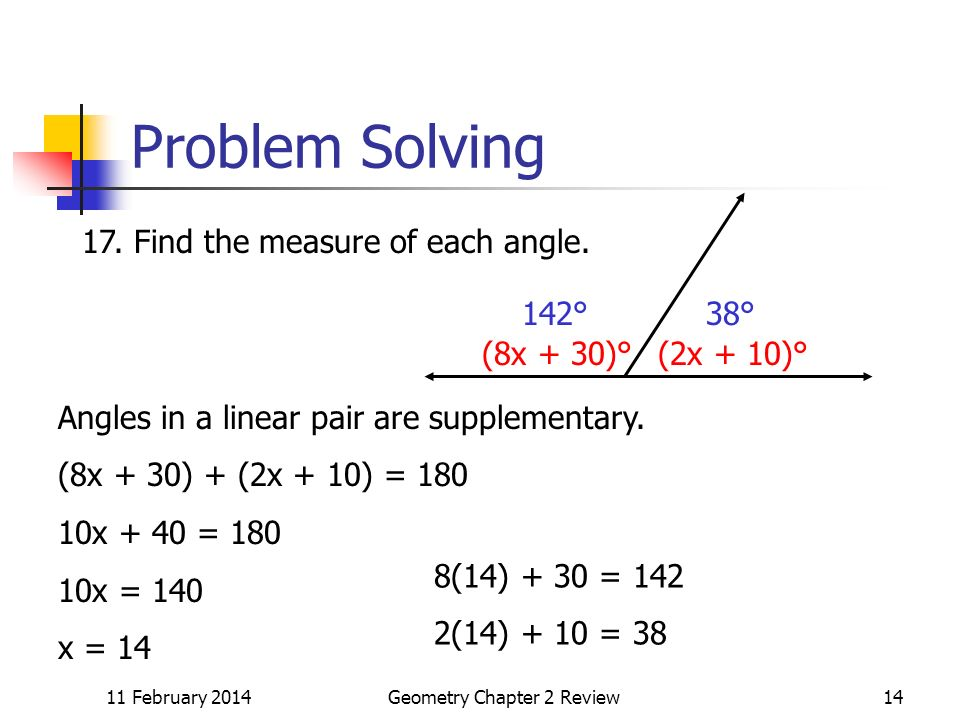 11 February 2014Geometry Chapter 2 Review14 Problem Solving (2x + 10)°(8x + 30)° 17.