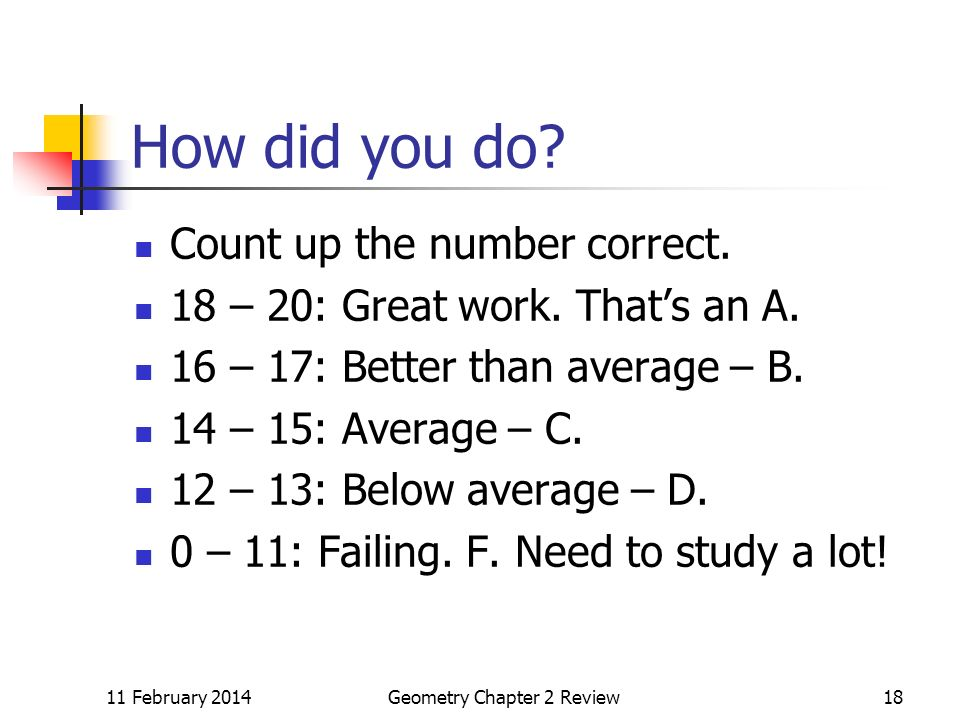 11 February 2014Geometry Chapter 2 Review18 How did you do.