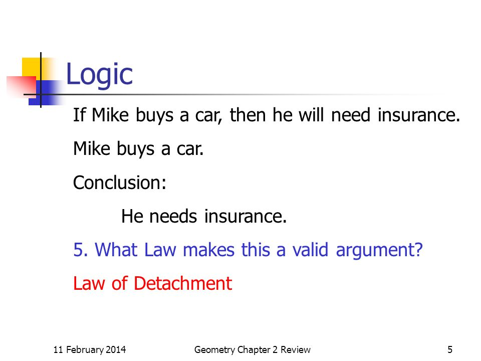 11 February 2014Geometry Chapter 2 Review5 Logic If Mike buys a car, then he will need insurance.