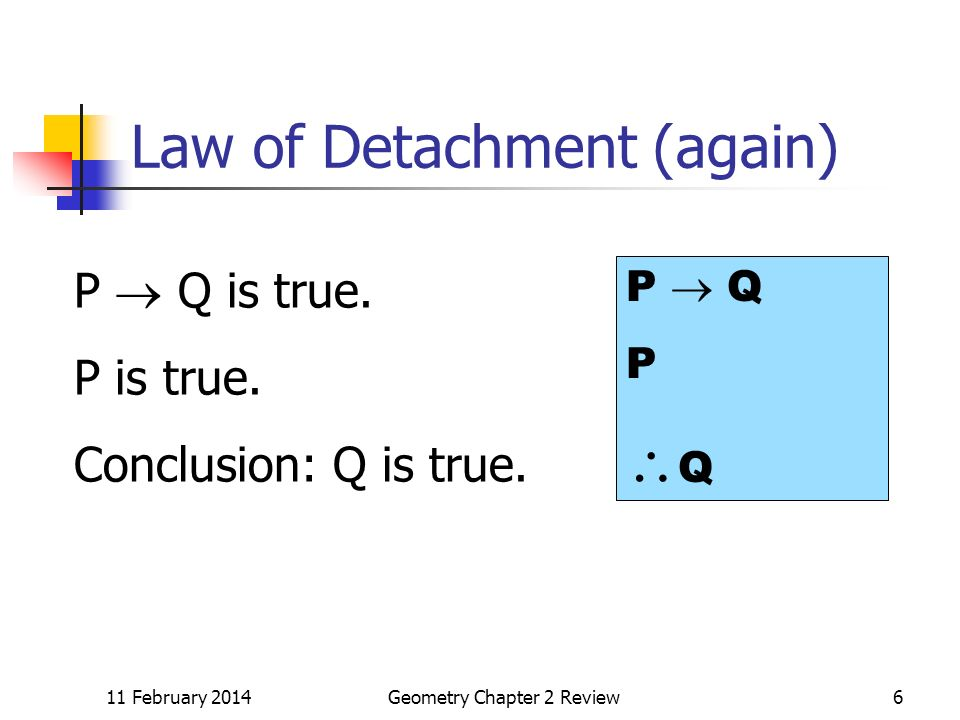 11 February 2014Geometry Chapter 2 Review6 Law of Detachment (again) P Q is true.
