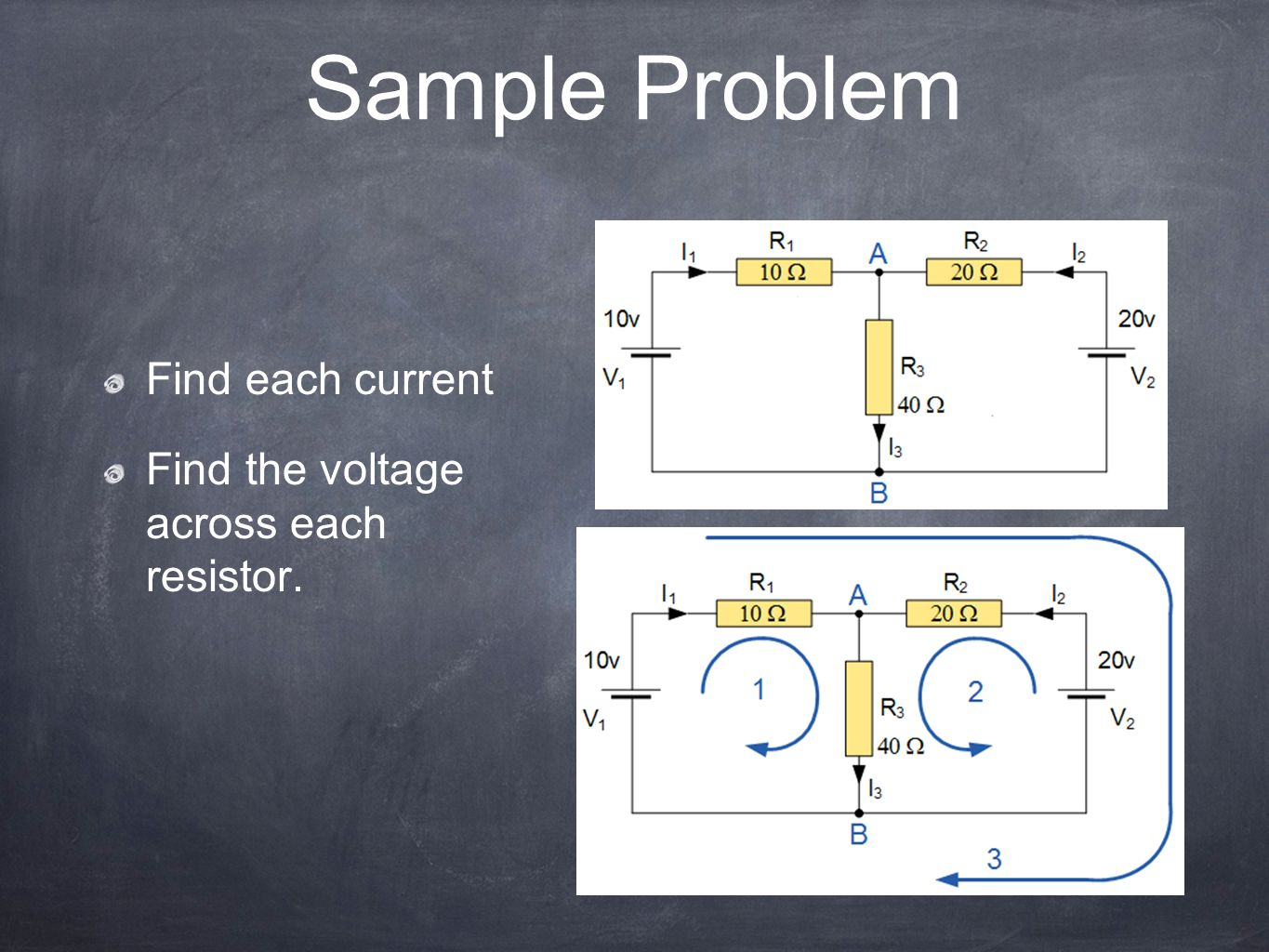 Sample Problem Find each current Find the voltage across each resistor.
