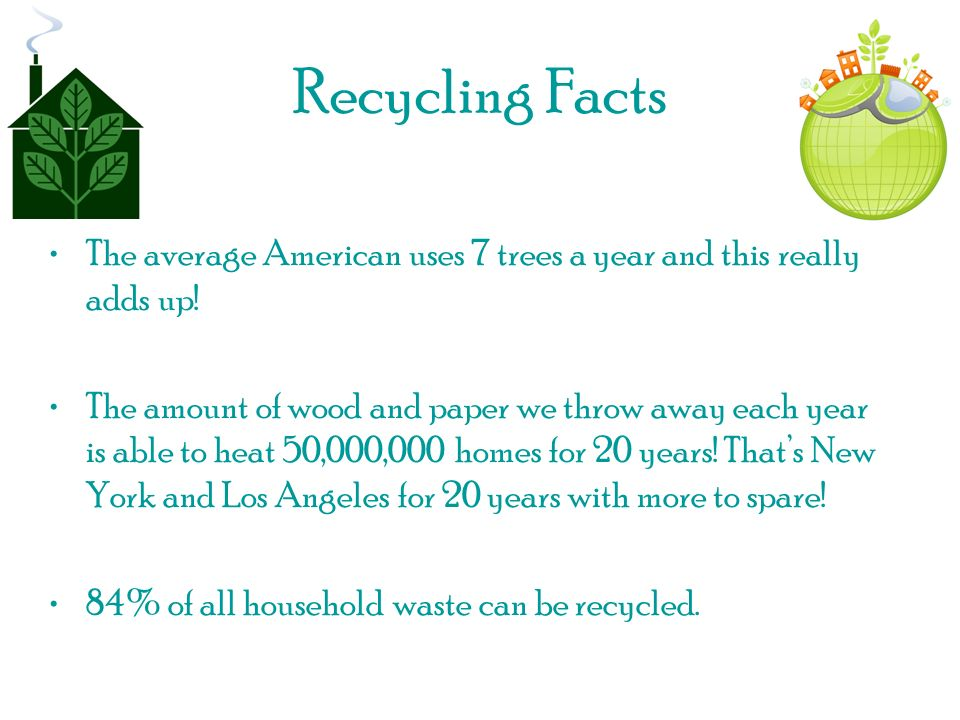 Recycling Facts The average American uses 7 trees a year and this really adds up.