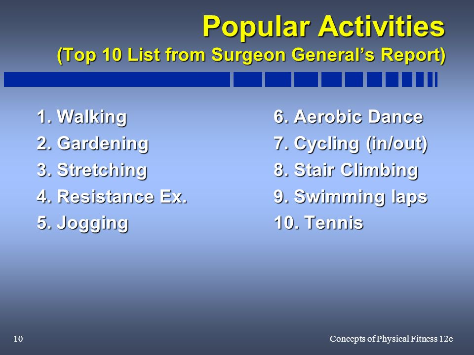 10Concepts of Physical Fitness 12e Popular Activities (Top 10 List from Surgeon Generals Report) 1.