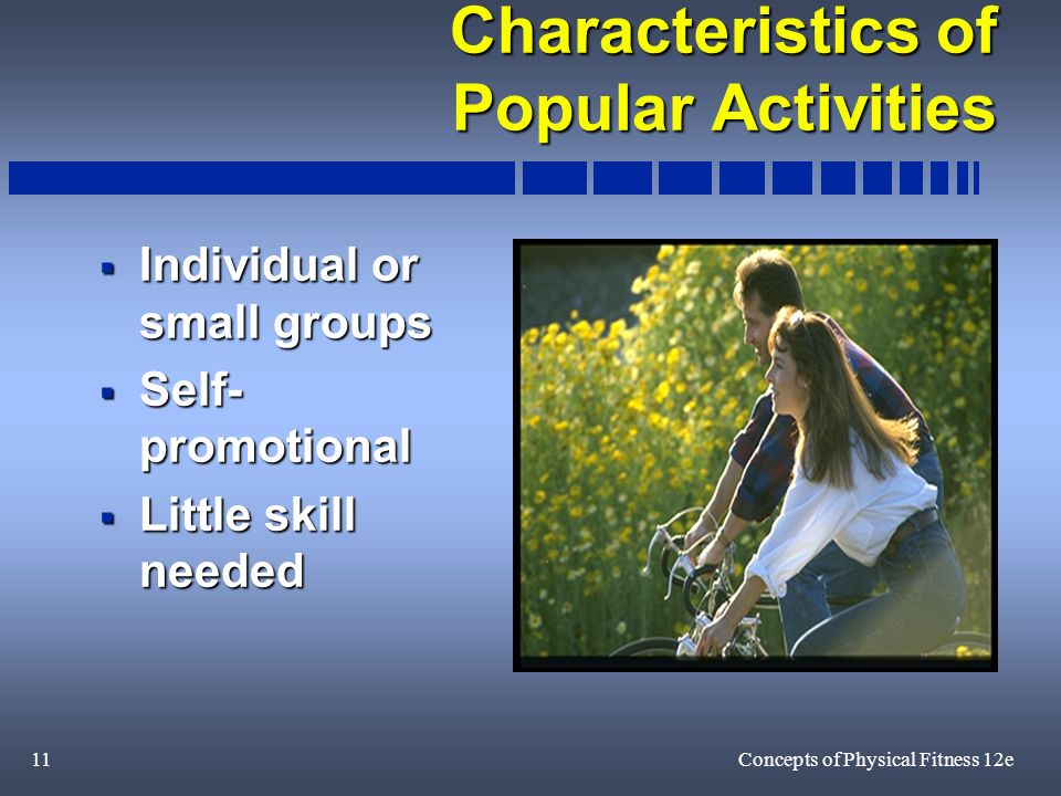 11Concepts of Physical Fitness 12e Characteristics of Popular Activities Individual or small groups Individual or small groups Self- promotional Self- promotional Little skill needed Little skill needed