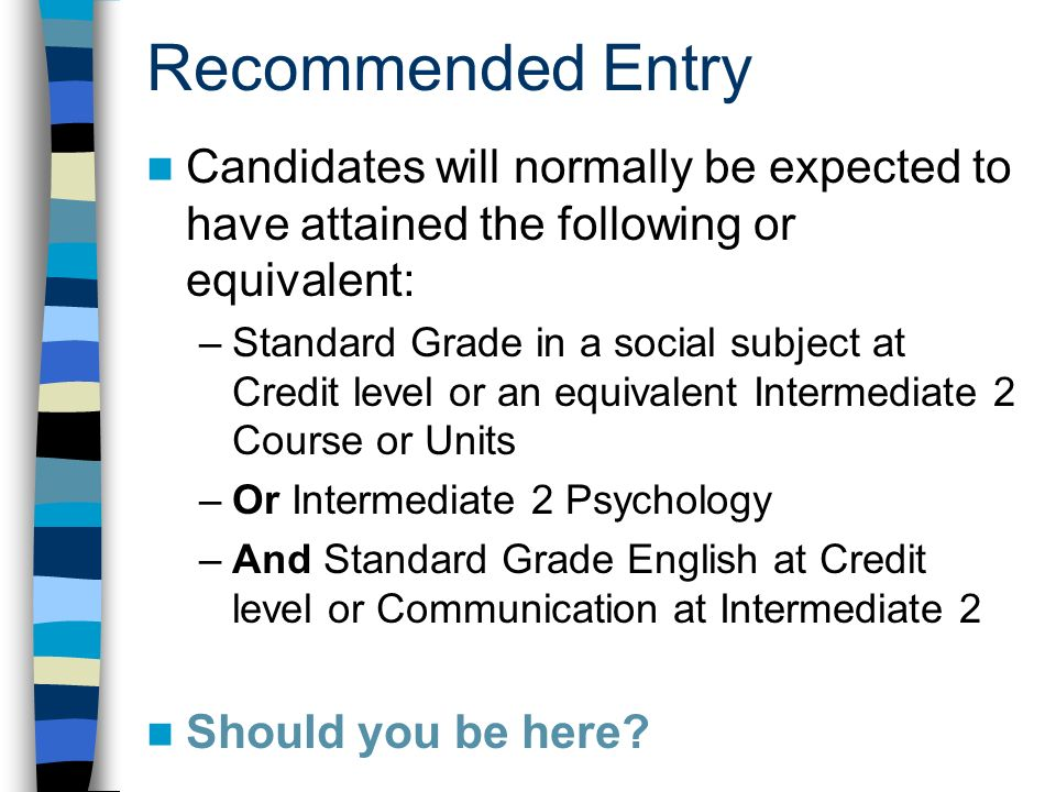 Recommended Entry Candidates will normally be expected to have attained the following or equivalent: –Standard Grade in a social subject at Credit level or an equivalent Intermediate 2 Course or Units –Or Intermediate 2 Psychology –And Standard Grade English at Credit level or Communication at Intermediate 2 Should you be here