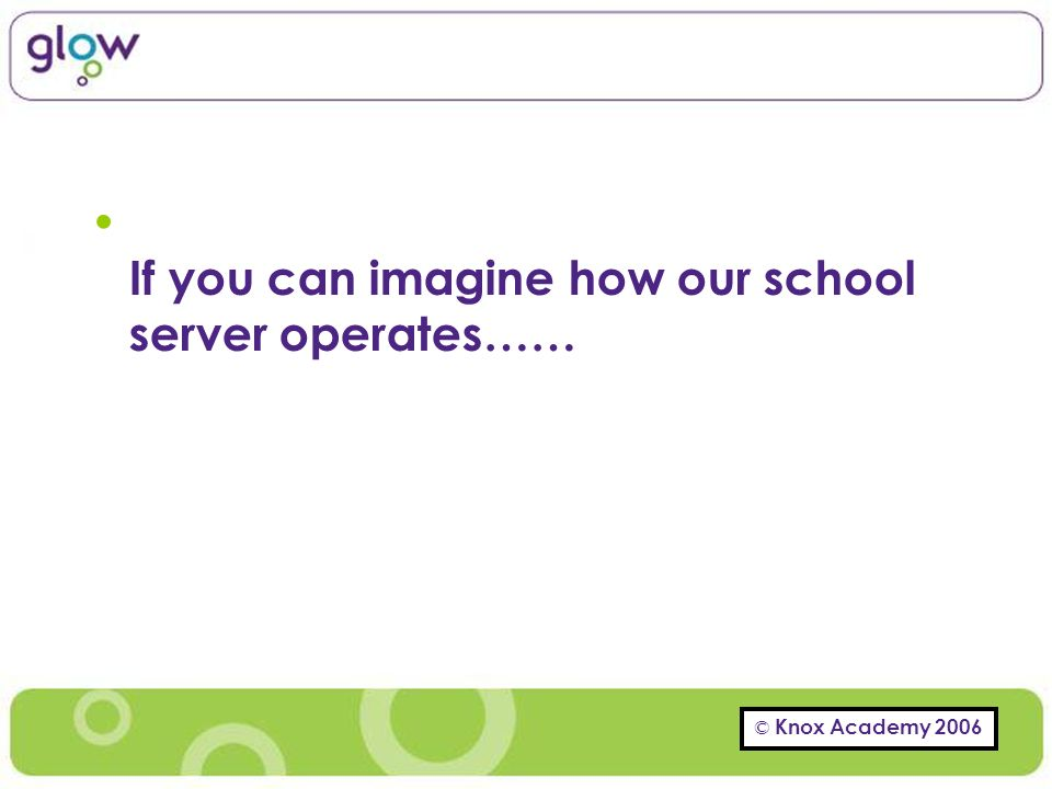 If you can imagine how our school server operates……
