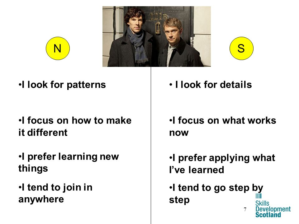 7 NS I look for details I focus on what works now I prefer applying what Ive learned I tend to go step by step I look for patterns I focus on how to make it different I prefer learning new things I tend to join in anywhere