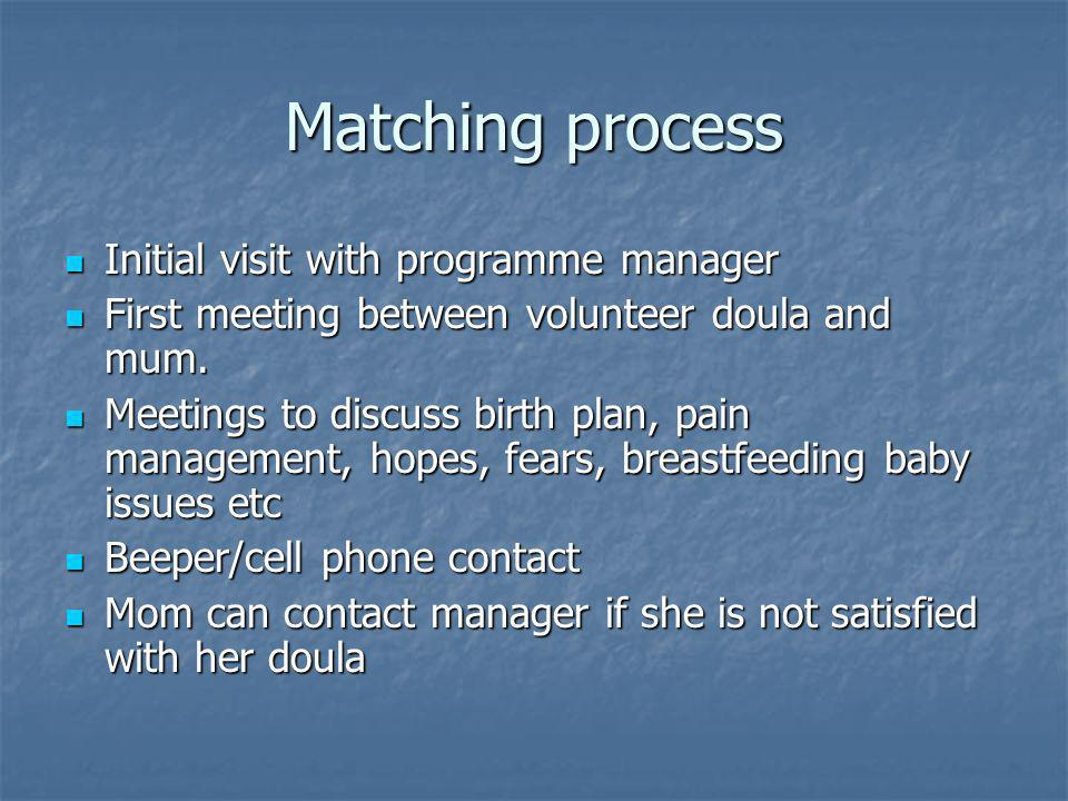 Matching process Initial visit with programme manager Initial visit with programme manager First meeting between volunteer doula and mum.