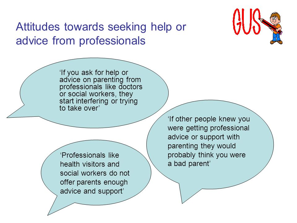If you ask for help or advice on parenting from professionals like doctors or social workers, they start interfering or trying to take over Professionals like health visitors and social workers do not offer parents enough advice and support If other people knew you were getting professional advice or support with parenting they would probably think you were a bad parent Attitudes towards seeking help or advice from professionals