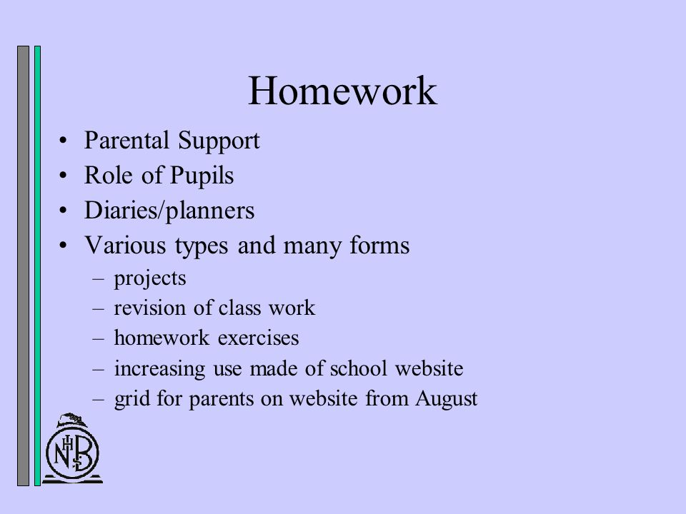 Homework Parental Support Role of Pupils Diaries/planners Various types and many forms –projects –revision of class work –homework exercises –increasing use made of school website –grid for parents on website from August