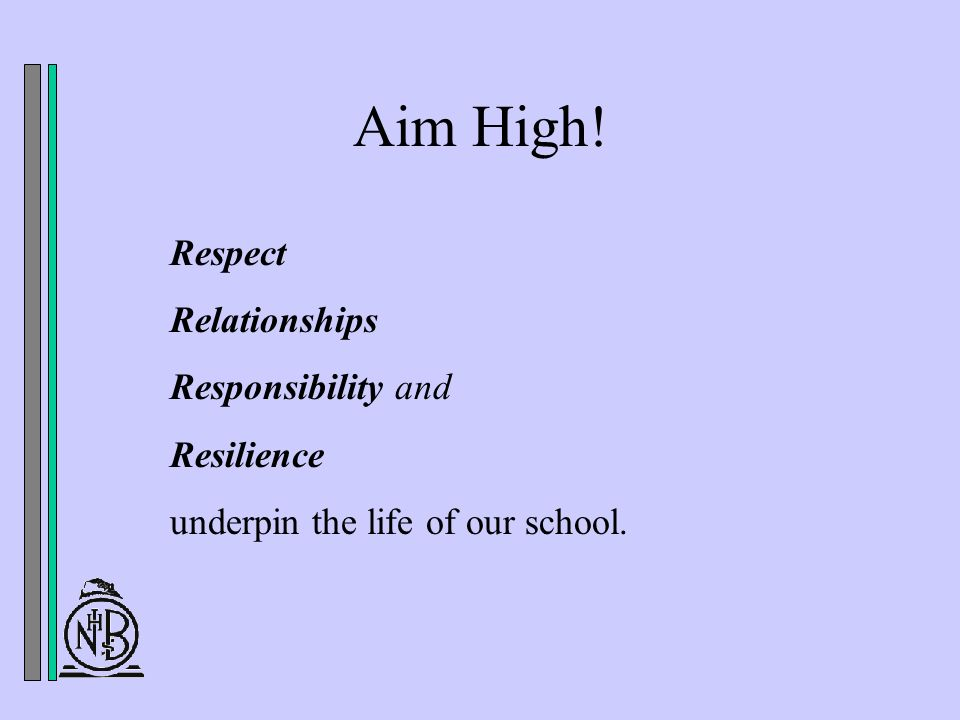 Aim High! Respect Relationships Responsibility and Resilience underpin the life of our school.