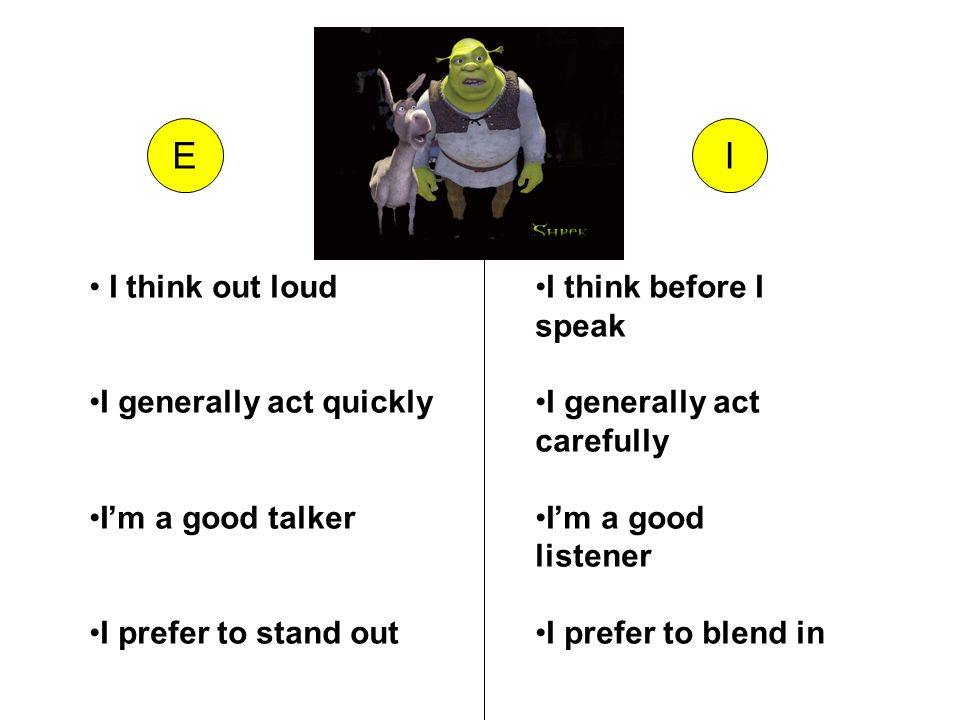 EI I think out loud I generally act quickly Im a good talker I prefer to stand out I think before I speak I generally act carefully Im a good listener I prefer to blend in