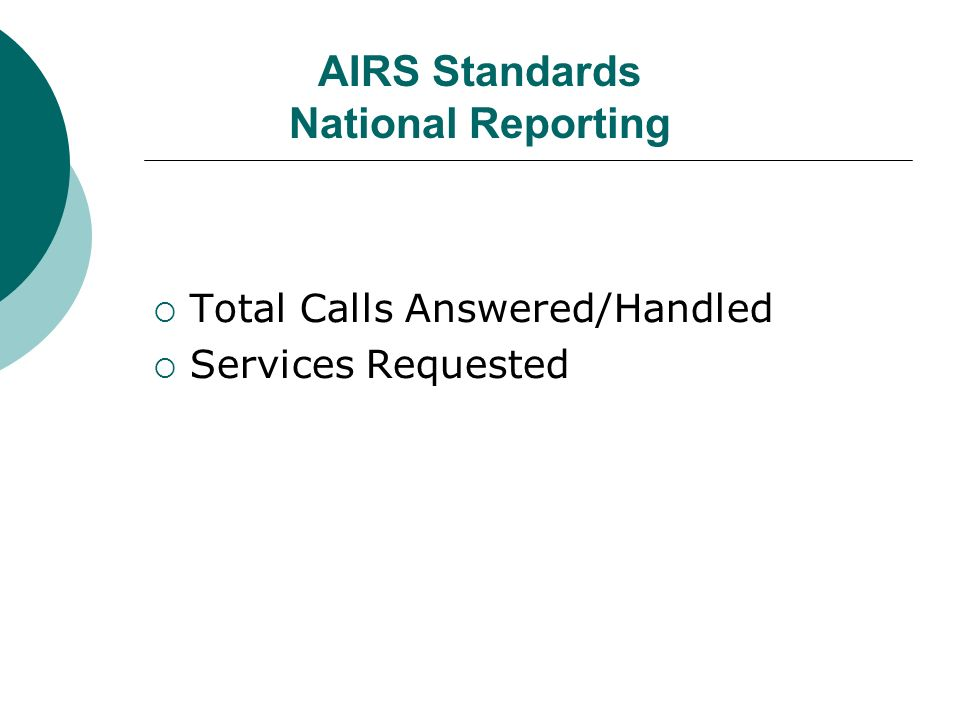 AIRS Standards National Reporting Total Calls Answered/Handled Services Requested