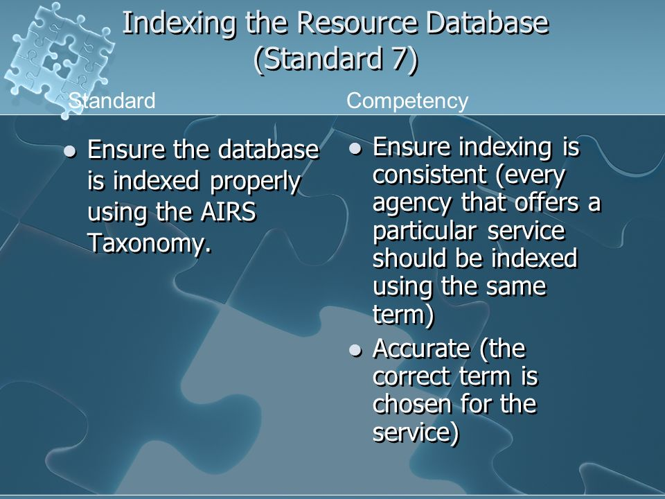 Indexing the Resource Database (Standard 7) Ensure the database is indexed properly using the AIRS Taxonomy.