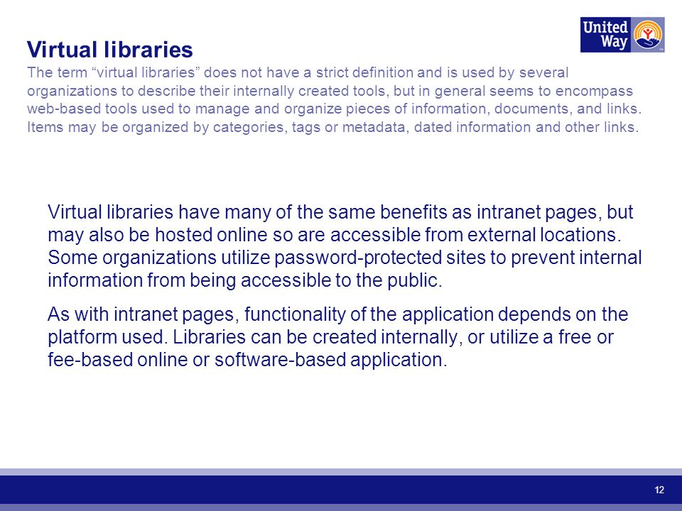 12 Virtual libraries have many of the same benefits as intranet pages, but may also be hosted online so are accessible from external locations.