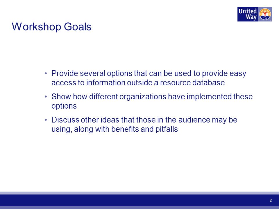 2 Workshop Goals Provide several options that can be used to provide easy access to information outside a resource database Show how different organizations have implemented these options Discuss other ideas that those in the audience may be using, along with benefits and pitfalls