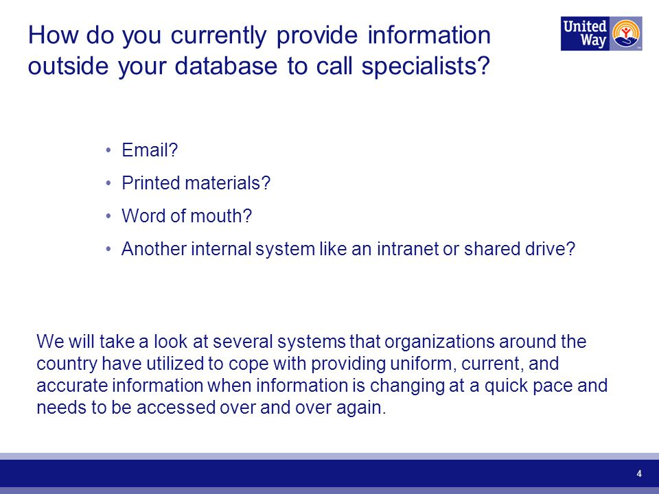 4 How do you currently provide information outside your database to call specialists.