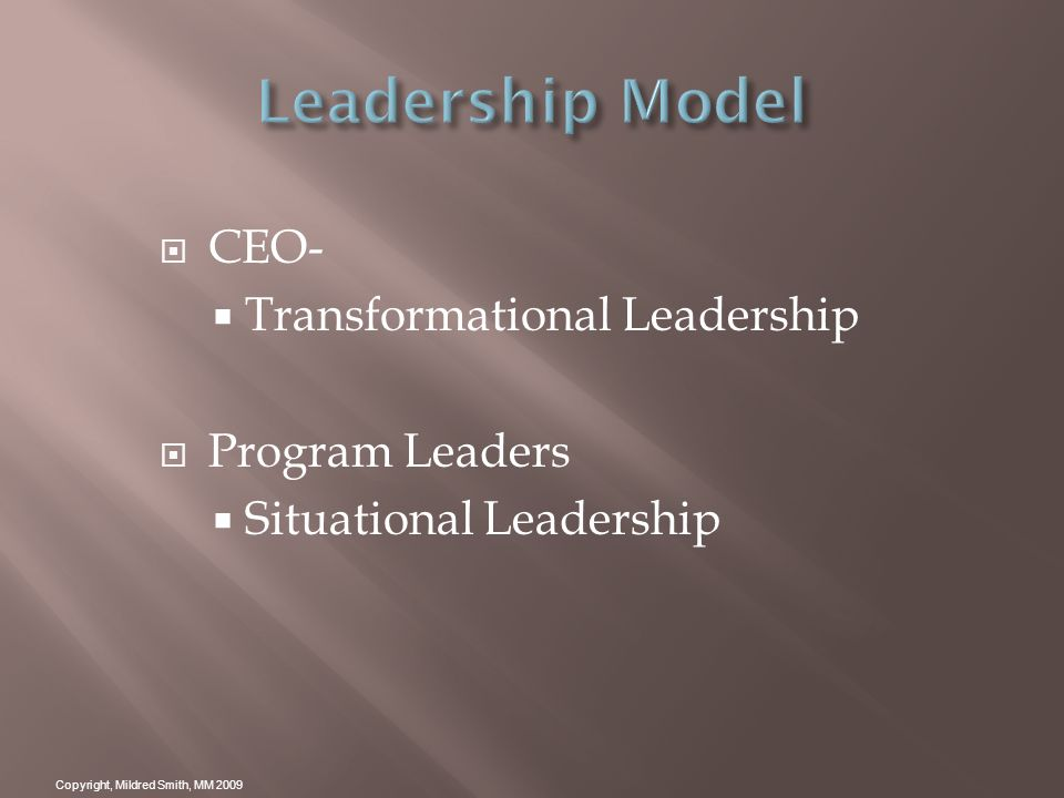 CEO- Transformational Leadership Program Leaders Situational Leadership Copyright, Mildred Smith, MM 2009