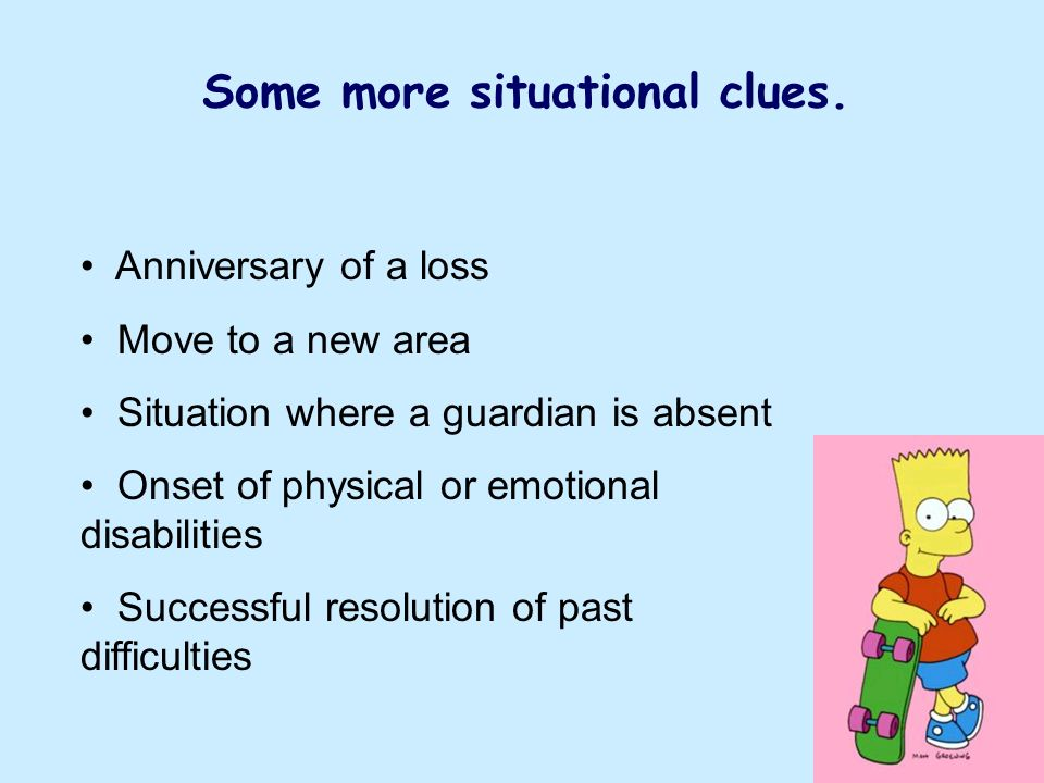 Some more situational clues.